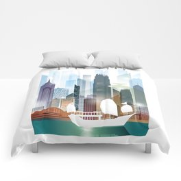 The city skyline of Hong Kong Comforters