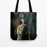 evangelion Tote Bags featuring Ayanami Rei Evangelion Character Digital Painting by Barrett Biggers