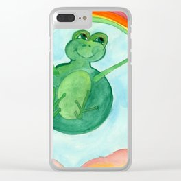 Happy Frog In The Sky Clear iPhone Case