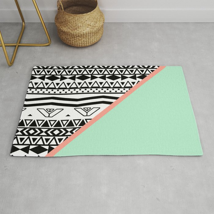 Block Black White Aztec Pattern Mint Green Color Block Rug By Girlytrend