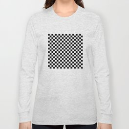 Black and White Checkerboard Pattern Long Sleeve T-shirt