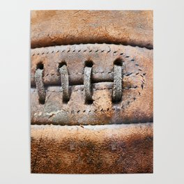 Old leather soccer ball Poster