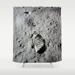 Apollo 11 - First Footprint On The Moon Shower Curtain