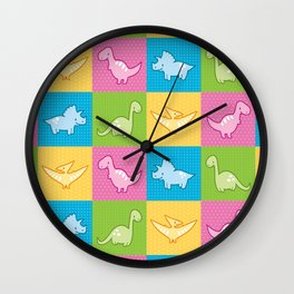 Colorful dinosaurs and pterodactyl cheater quilt Wall Clock