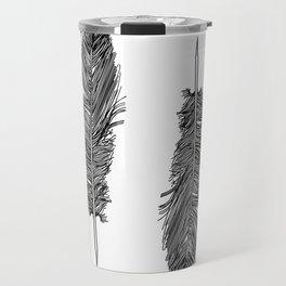 Two Black And White Feathers Bohemian Art Travel Mug