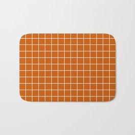 Burnt orange - orange color - White Lines Grid Pattern Bath Mat