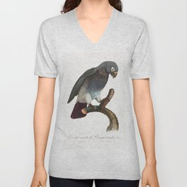 The Grey Parrot Psittacus erithacus from Natural History of Parrots (1801-1805) by Francois Levailla Unisex V-Neck