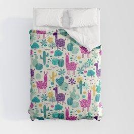 Llama desert turquoise/purple Comforters