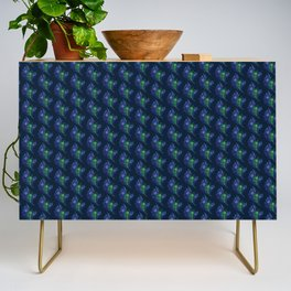 Lovely Peacock Feathers Pattern On Blue Credenza