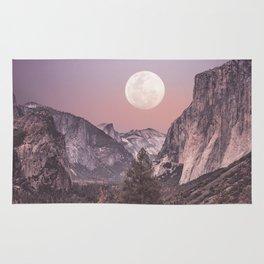 Pastel Full Moon Over Yosemite Park Rug