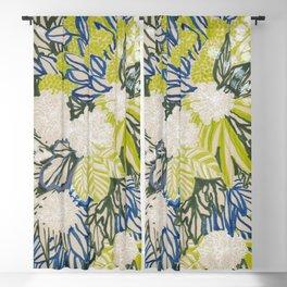White chrysanthemums -ink floral Blackout Curtain