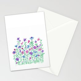 Cheerful spring flowers watercolor Stationery Cards