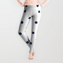 Navy Blue & White Polka Dots Leggings