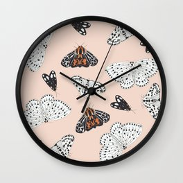 Muted Illustrated Moth Pattern Wall Clock
