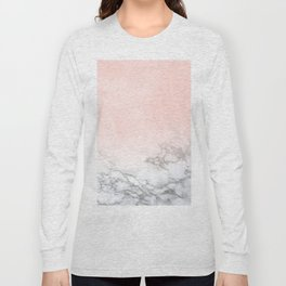Blush Pink on White and Gray Marble III Long Sleeve T-shirt
