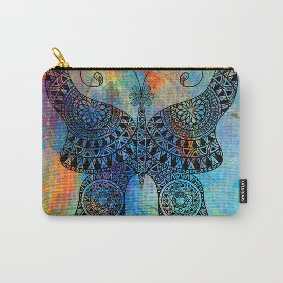 Drawn Butterfly on Colors Carry-All Pouch