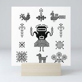 folk embroidery, Collection of flowers, birds, peacocks, horse, man, geometric ornaments, symbols e Mini Art Print