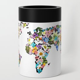 Floral World Map Can Cooler