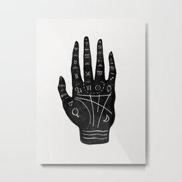 Palm Reading Chart - Black on White Metal Print