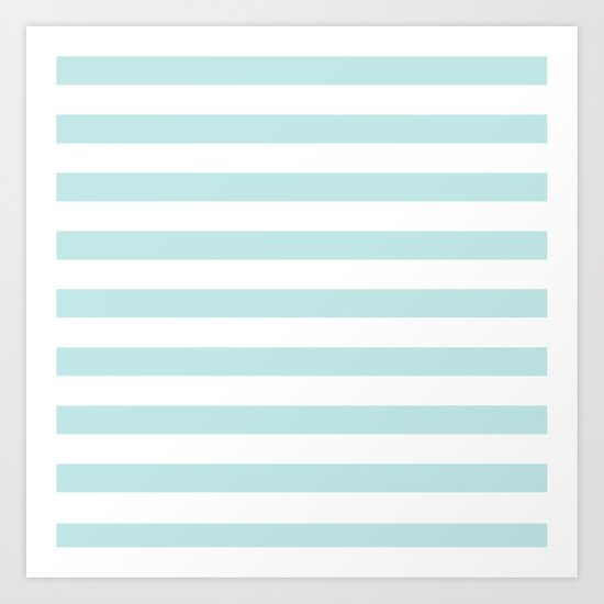 Simply Striped in Succulent Blue Stripes on White Art Print