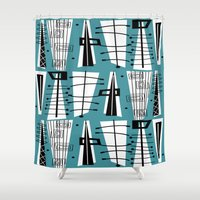 mid century Shower Curtains featuring Mid-Century Teal Abstract by Kippygirl