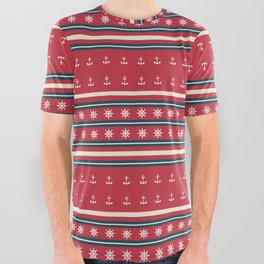 Ships Ahoy Red/Blue Stripe All Over Graphic Tee