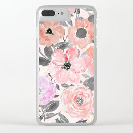 Elegant simple watercolor floral Clear iPhone Case