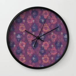 Lotus flower - mulberry woodblock print style pattern Wall Clock