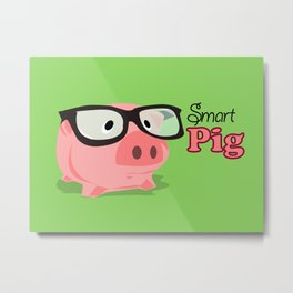 Smart Pig Metal Print