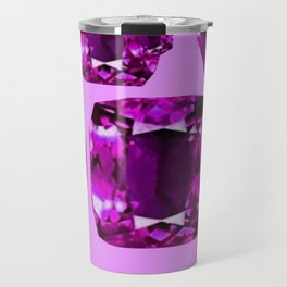 Purple Amethyst February Birthstone Gems Abstract Travel Mug