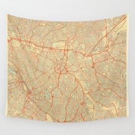 Sao Paulo Map Retro Wall Tapestry