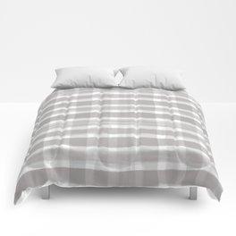 Slate Violet Gray SW9155 Watercolor Brushstroke Plaid Pattern on White Comforters