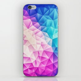 Pink - Ice Blue / Abstract Polygon Crystal Cubism Low Poly Triangle Design iPhone Skin