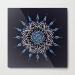 Sphinx Moth Pattern In Blue Metal Print