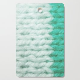 White Turquoise Wool Knitting Texture Cutting Board