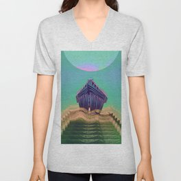 Surfing The Big Wave Searching Mermaids Unisex V-Neck