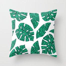 summer tropical leaves green Throw Pillow