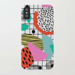 Posse - 1980's style throwback retro neon grid pattern shapes 80's memphis design neon pop art iPhone Case
