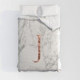 Monogram rose gold marble J Comforters