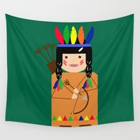 indian Wall Tapestries featuring Indian by lescapricesdefilles