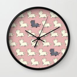 Proud cat pattern Pink Wall Clock