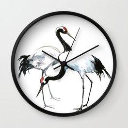 Japanese Cranes, Asian ink Crane bird artwork design Wall Clock