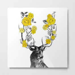 The Stag and Roses | Deer and Flowers | Yellow | Vintage Stag | Vintage Deer | Antlers | Woodland | Metal Print