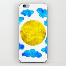 Cute blue cartoon clouds and sun. iPhone & iPod Skin