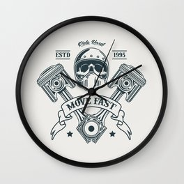 Motorcycle Club Illustration Wall Clock