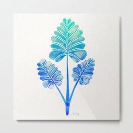 Tropical Palm Leaf Trifecta – Blue Ombré Palette Metal Print