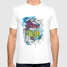Music Makes Me High White MEDIUM Mens Fitted Tee