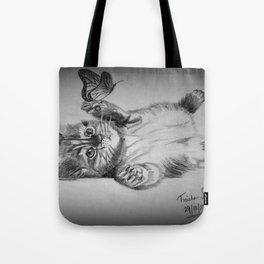 Kitten catching the butterfly Tote Bag