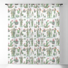 Pattern - cactus family W Sheer Curtain