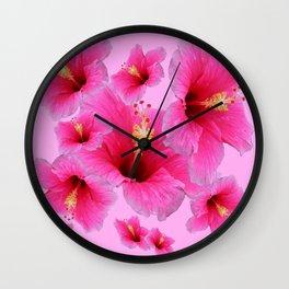 GIRLY TROPICAL PINK HIBISCUS ART Wall Clock